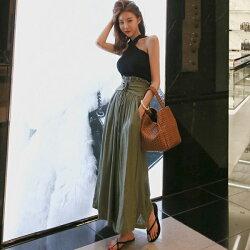 PS Mall 韓版綁帶高腰寬口褲裙【T483】