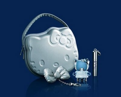 Hello Kitty Diamond  炫銀kitty 香氛禮盒(內含璀鑽香水5ML)  炫銀kitty提袋+5ml小香+隨身唇鑰匙環 ☆真愛香水★ 聖誕交換禮物女生