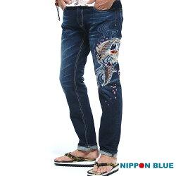 【春夏新品】水悅櫻鯉精繡低腰直筒褲 - BLUE WAY  NIPPON BLUE日本藍