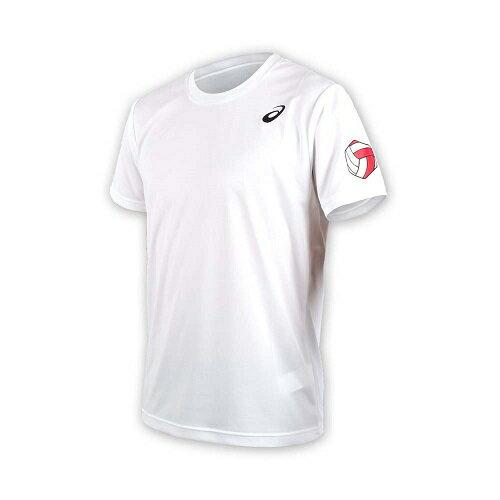 【ASICS亞瑟士】男排球短袖T恤印花運動短T-XW6735-01A白[陽光樂活]