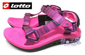 【巷子屋】義大利第一品牌-LOTTO樂得 女款/大童QQ夾心緞面織帶排水運動涼鞋 [2413] 桃 超值價$398