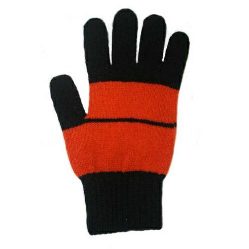 【黑色X橘色】條紋純羊毛手套100%紐西蘭美麗諾