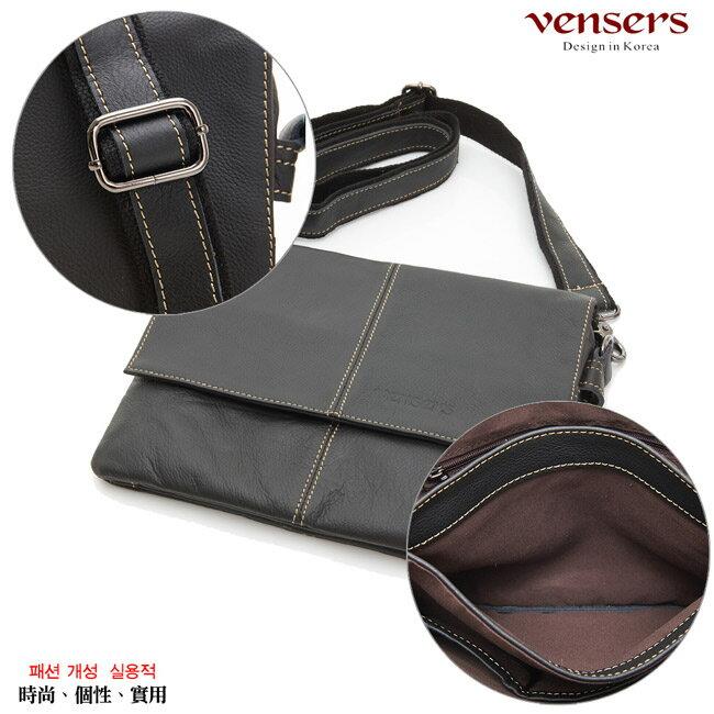 【Vensers】小牛皮潮流個性包~斜肩背包(N131001黑色) 5