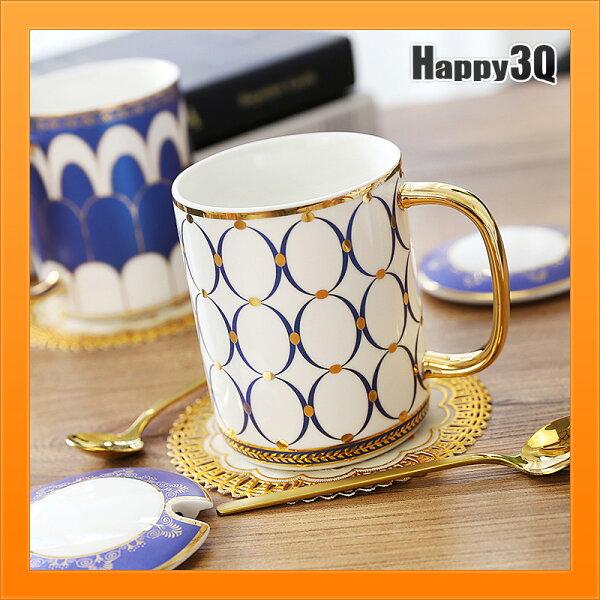 送湯匙馬克杯附蓋子北歐鑲金邊水杯咖啡杯子花茶杯辦公室水杯-多款【AAA4639】