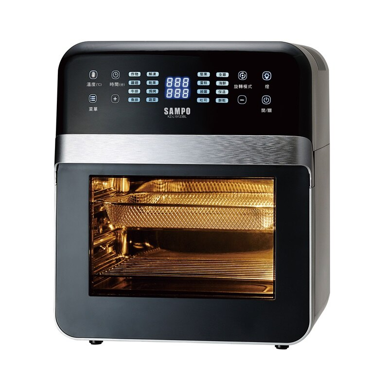 【聲寶】12公升大容量智能氣炸烤箱 定時定溫 16菜單模式 7配件-黑 KZ-L19123BL 保固免運 1