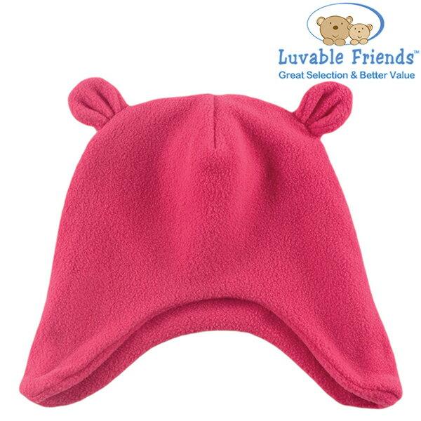 美國 Hudson Baby Luvable Friends 嬰幼用品 造型寶寶帽 小熊 - 桃紅色