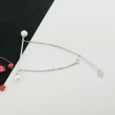 【米蘭秀】【奇珍館】:珍珠手鍊925純銀手環-6.6mm雙珠細款生日母親節禮物女飾品73qn20【獨家進口】【米蘭精品】