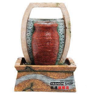簡約流水噴泉 樹脂工藝品噴泉加濕器 田園家居 創意生日禮品
