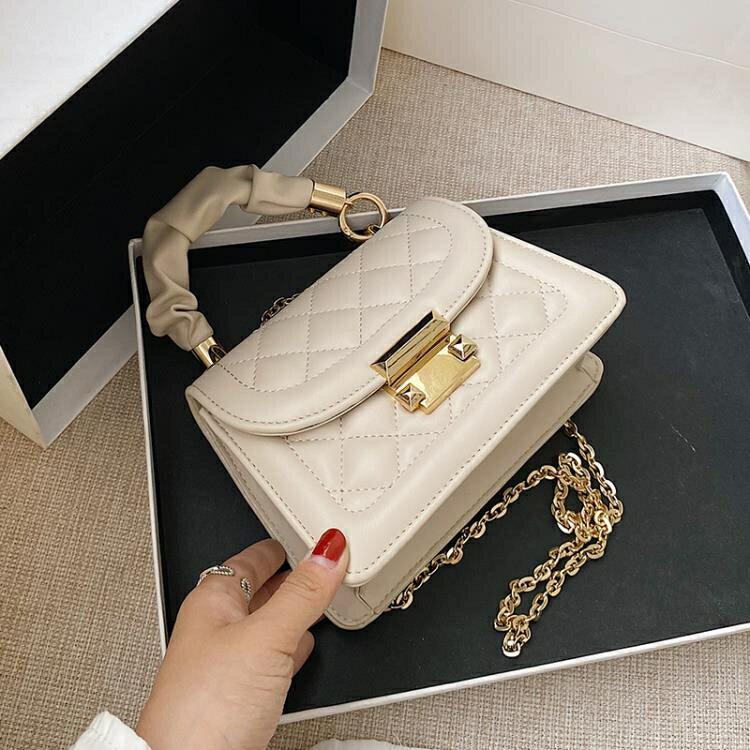 夏季百搭小包包女流行潮時尚鏈條斜挎手提小方包
