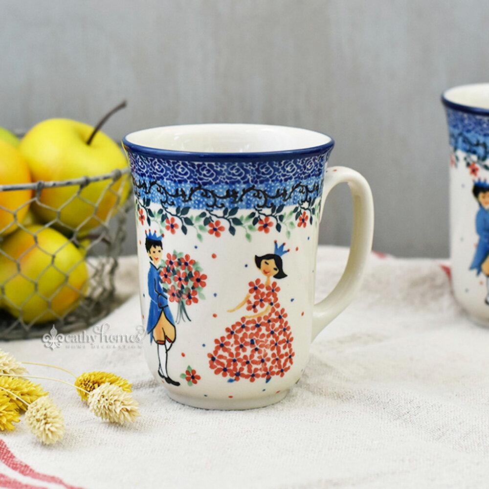 凱西生活 手工波蘭陶-茶杯(寬) 0.5L #U4866 馬克杯 茶杯 水杯 把手杯