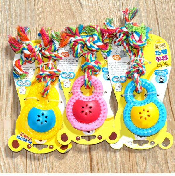 小號8字型有聲磨牙玩具~藍 黃