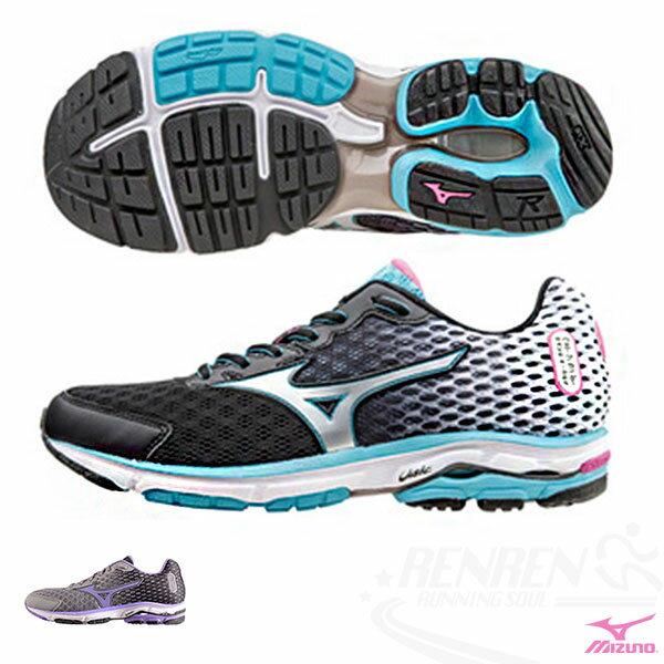 MIZUNO 美津濃  WAVE RIDER 18 女慢跑鞋 路跑(黑*白*銀)2015年下半年新款