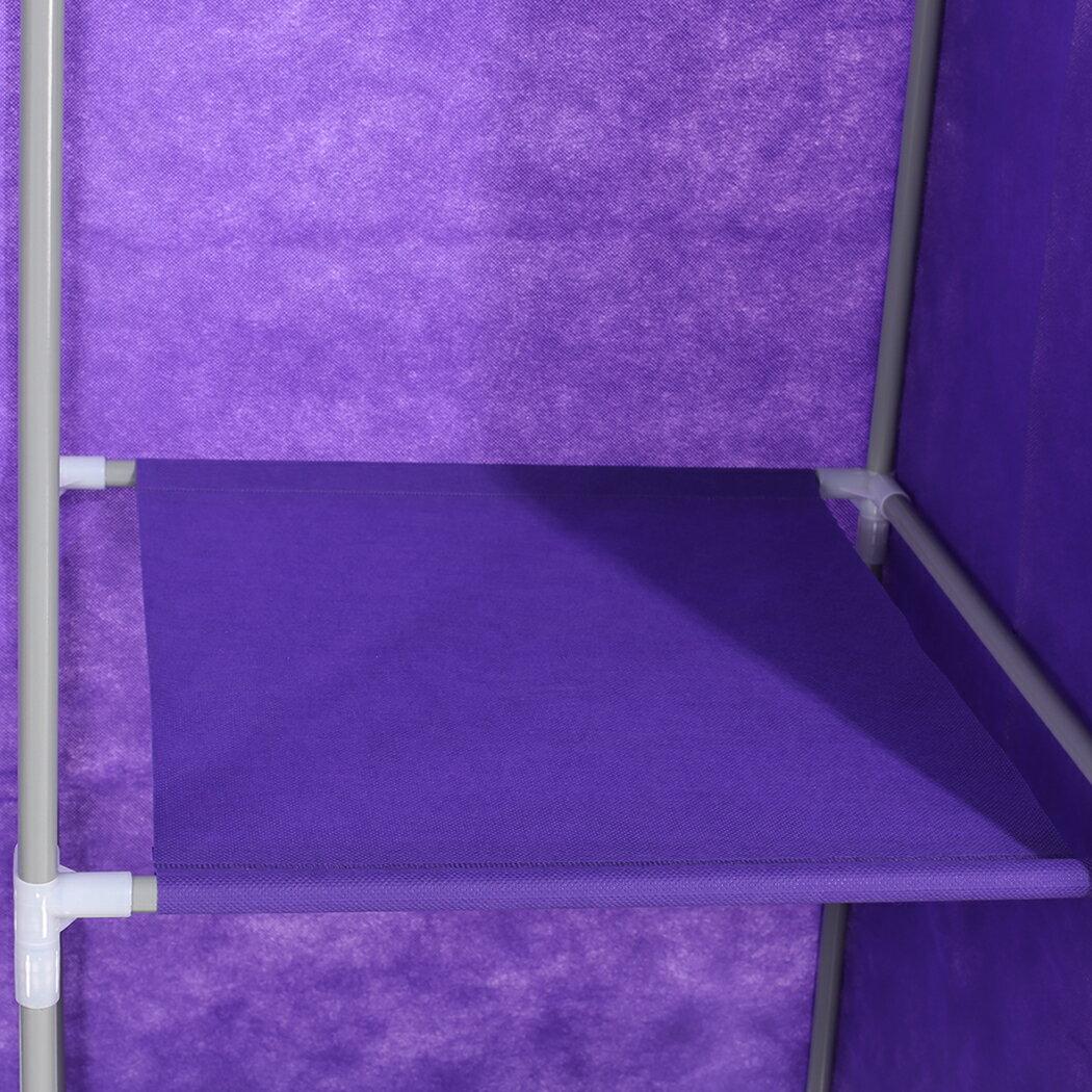 Home DIY Portable Closet Wardrobe Clothes Rack With Hanger 5