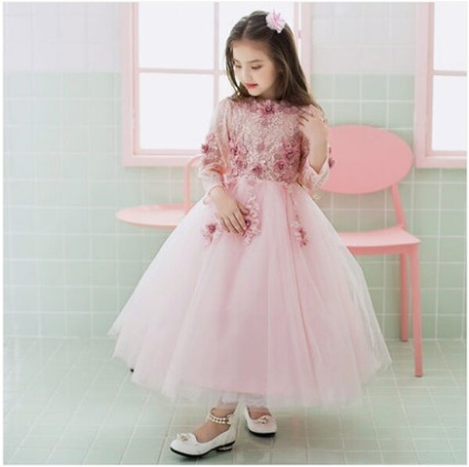 天使嫁衣:天使嫁衣【童C0138】粉色蕾絲網紗七分袖長款女童晚禮服˙預購訂製款