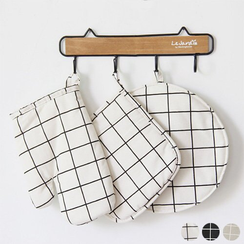 防燙手套 隔熱墊 廚房三件組 微波爐手套 布質鍋墊 【SV8157】快樂生活網