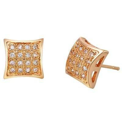 純銀耳環鍍18K金鑲鑽耳飾~ 奢華 方塊生日情人節 女飾品73cz57~ ~~米蘭 ~