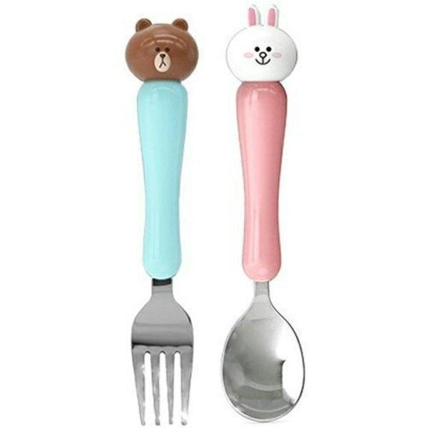 韓國 Line Friends 熊大 兔兔 3D立體大頭 304不銹鋼湯匙叉子組