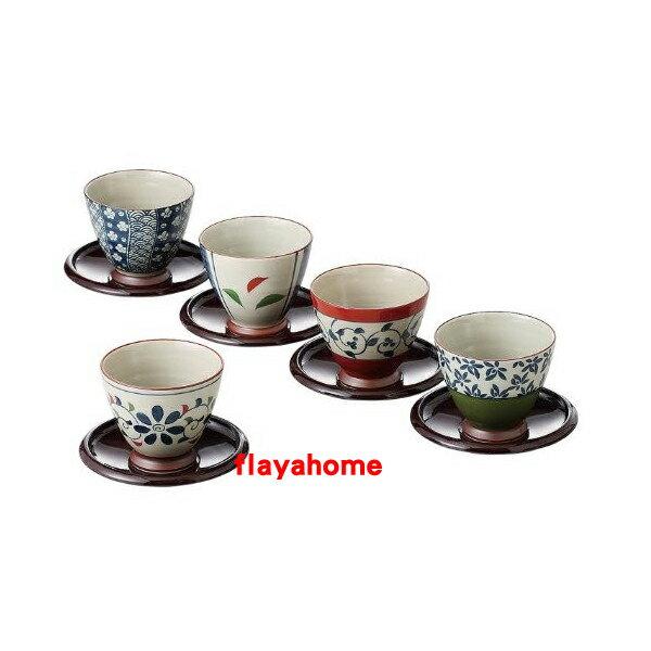 《富樂雅居》日本製 有田燒 西海陶器 染錦???? 仙茶揃 (茶托付) 五客 茶杯組 (附盤)