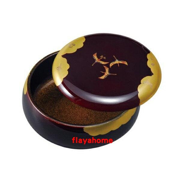 《富樂雅居》日本製 中西工藝 雲居路 舞鶴 長壽吉祥幸運 丸型 漆器 果盒 18cm