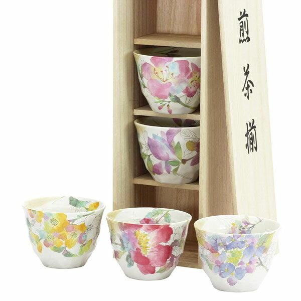 《富樂雅居》日本製美濃燒和藍花海角煎茶碗煎茶揃茶杯組(五個入附木箱)03121