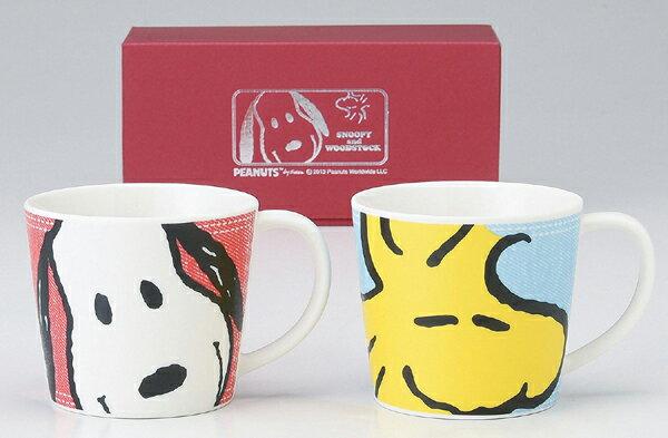 《富樂雅居》日本製 金正陶器 Snoopy & Woodstock 史努比 笑臉 對杯組 ( 2入馬克杯 )