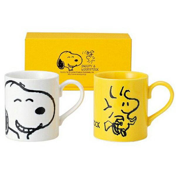 《富樂雅居》日本製 金正陶器 Snoopy & Woodstock 史努比 笑咪咪 黃白 對杯組 ( 2入馬克杯 )