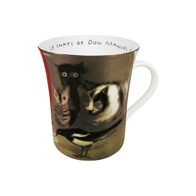 《富樂雅居》德國Konitz拿鐵杯-哥雅 三隻貓與喜鵲 Francisco de Goya / Red ( Les Chats De Don Manuel )
