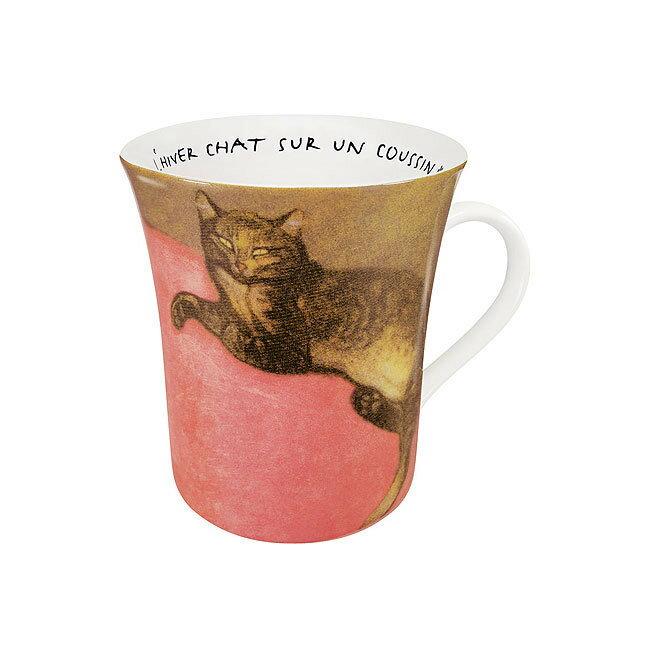 《富樂雅居》德國Konitz拿鐵杯-史坦林 冬季紅枕頭上的貓 Steinlen/Red ( L'hiver Chat Sur Un Coussin )
