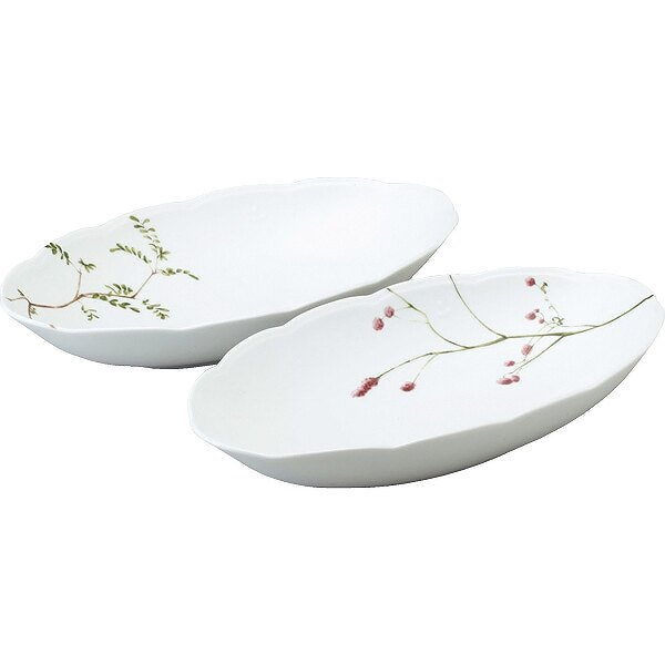 《富樂雅居》日本製 NARUMI 鳴海製陶 里花曆 2入 橢圓缽 32cm