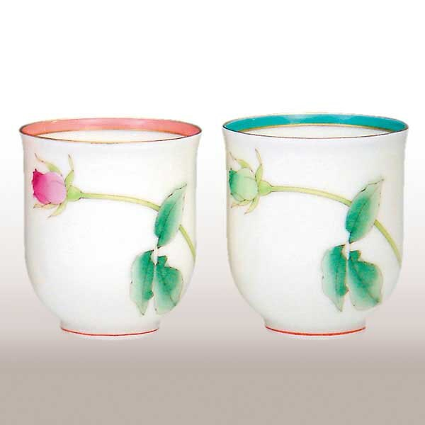 《富樂雅居》日本製 有田燒 香蘭社 亮彩 玫瑰 對杯 2入 湯吞 茶杯