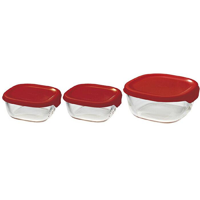 《富樂雅居》日本製 Hario 方型 可微波 附蓋 玻璃 保鮮盒 收納盒 3入組 (紅)