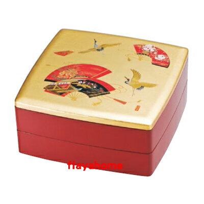 《富樂雅居》日本製 MIYABI 吉祥如意 寶扇 二段重 漆器 果盒 便當盒