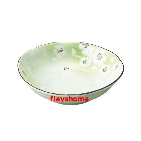 《富樂雅居》日本製 美濃燒 花??? ??五五煮物? 煮物缽 / 粉綠