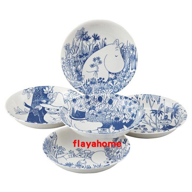 《富樂雅居》日本製 藍染和風 MOOMIN 嚕嚕米 5入 缽盤組 (21.5cm)