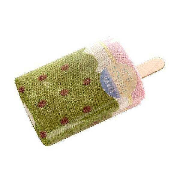 <br/><br/>  《富樂雅居》日本製 100%棉 二重紗 Ice Towel 冰棒造型 方巾 ( 抹茶紅豆 / 34cm*35cm )<br/><br/>
