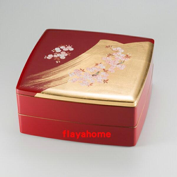 《富樂雅居》日本製 MIYABI 雅緻 櫻花 二段重 漆器 果盒 便當盒
