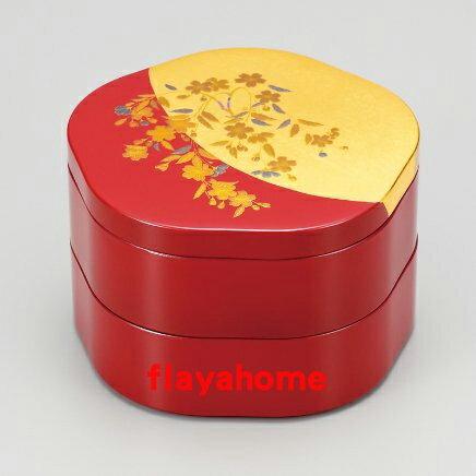 《富樂雅居》日本製 MIYABI 櫻花二段重 金箔花型 兩段式 漆器 果盒 便當盒