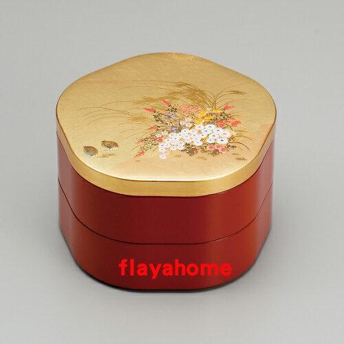 《富樂雅居》日本製 MIYABI 雅 二段重 金箔花型 兩段式 漆器 果盒 便當盒