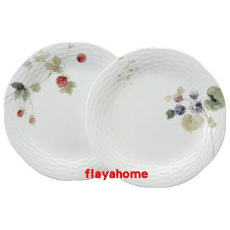 《富樂雅居》日本製 NARUMI 鳴海製陶 骨瓷 果實 淺盤 雙盤組 ( 2入盤組 / 20cm )