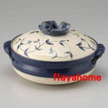 《富樂雅居》日本製 萬古燒砂鍋 吳須唐草 10號鍋(5~6人份)
