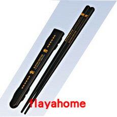 《富樂雅居》日本製 小森樹脂 可攜帶式 筷子 附盒 金獅 (21.5cm)