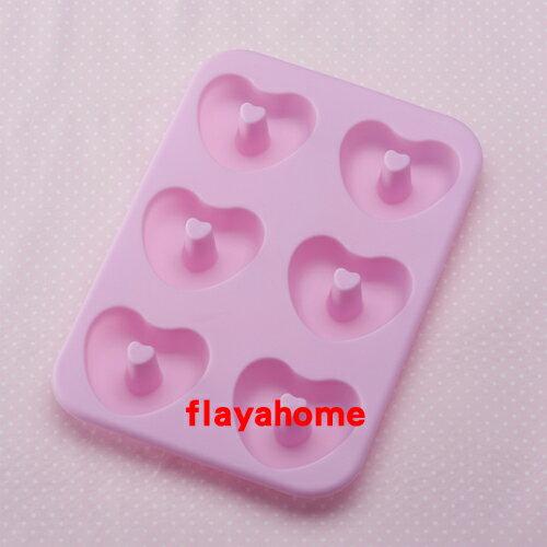 《富樂雅居》日本 貝印KAI 矽膠 愛心 甜甜圈 蛋糕模 餅乾模 ( 心型 / 6個取 )