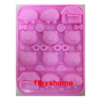 《富樂雅居》日本 貝印KAI 小豬造型 矽膠 巧克力模 冰塊模 果凍模 餅乾模 手工皂模 (12格)