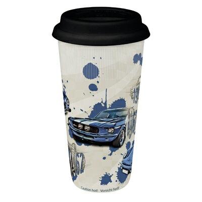 《富樂雅居》To-Go 外帶杯系列~德國Konitz馬克杯-汽車傳奇 ( 藍 / 附蓋 )