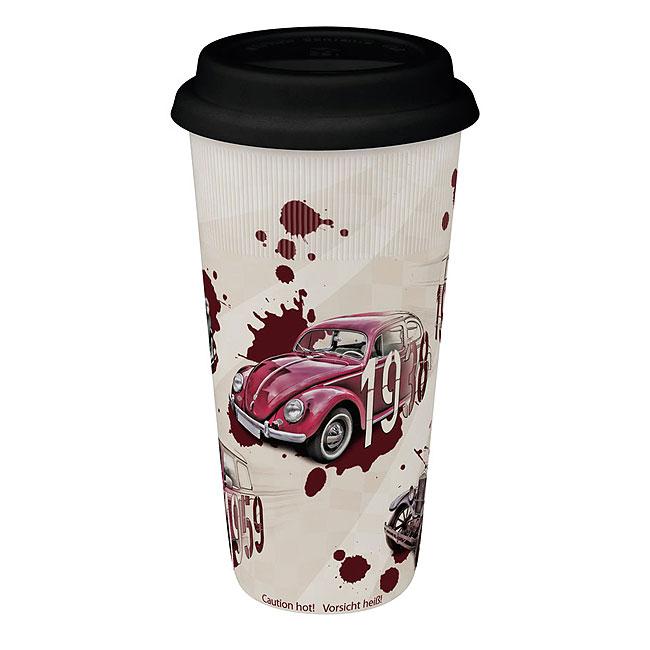 《富樂雅居》To-Go 外帶杯系列~德國Konitz馬克杯-汽車傳奇( 紅 / 附蓋 )