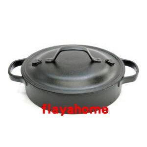 《富樂雅居》日本製 南部鐵器 及源鑄造 盛榮堂 Oigen 鑄鐵鍋 兩手淺型鐵鍋 ( 24cm / 上蓋有 2個蒸氣孔 )