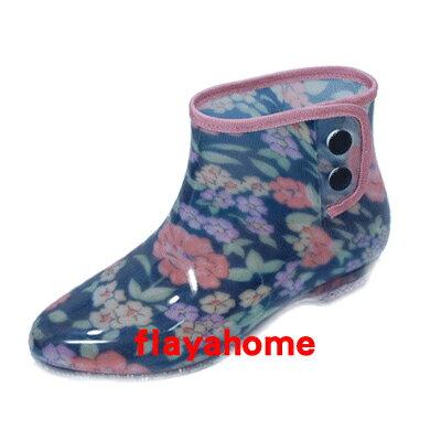 《富樂雅居》日本製 雨鞋 / 玫瑰花黑