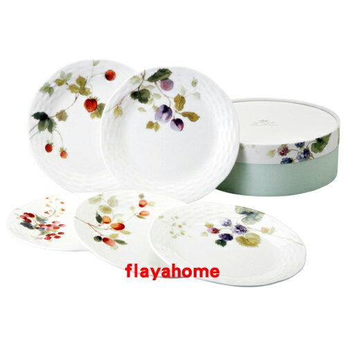 《富樂雅居》日本製 NARUMI 鳴海製陶 骨瓷 果實 五入 盤組 ( 17cm )