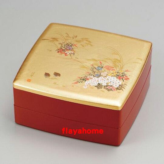 《富樂雅居》日本製 MIYABI 花卉 雉雞 二段重 漆器 果盒 便當盒