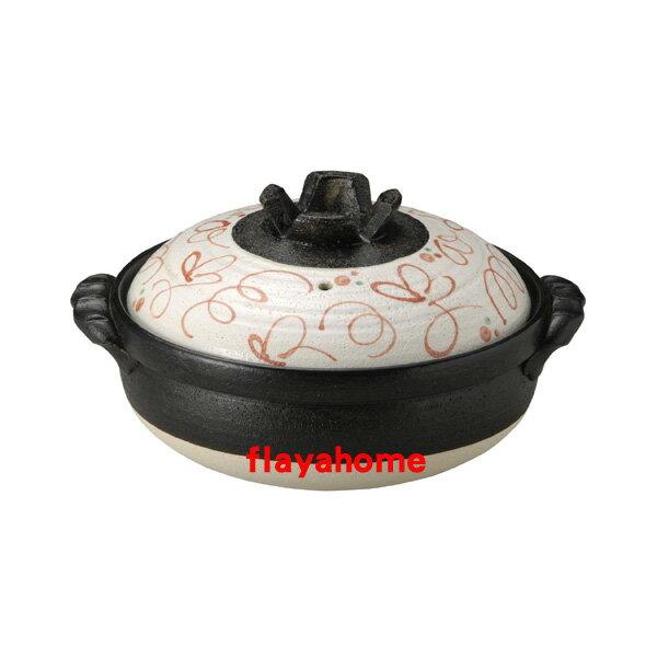《富樂雅居》日本製 萬古燒 赤繪 7號 砂鍋 ( 適合1~2人使用 )